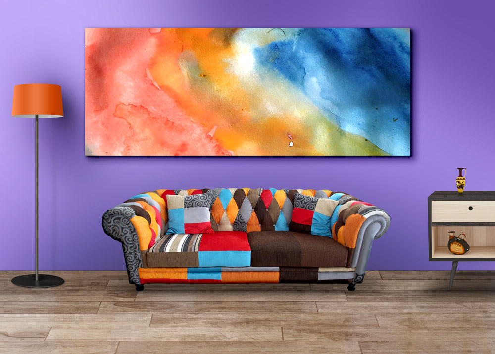 Living room wall art mockup psds graphicsfuel for Wall art paintings for living room