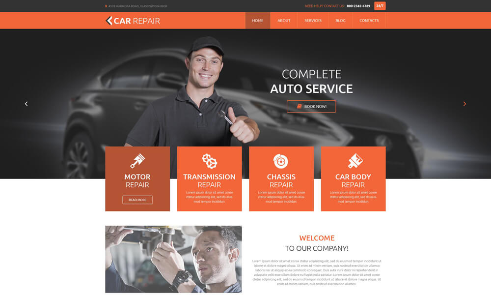 Car Repair PSD Template