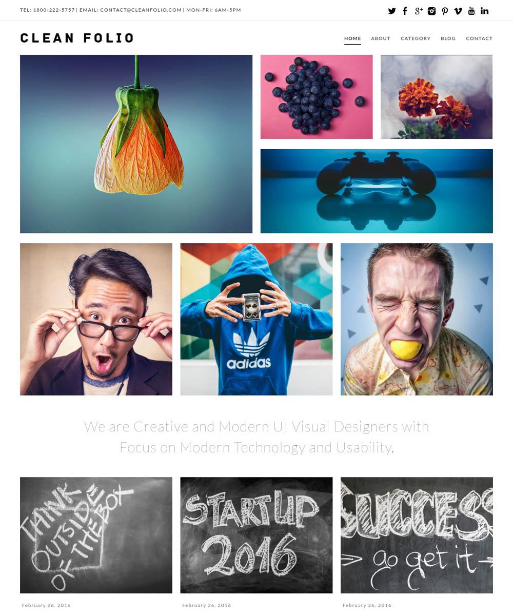 Clean Folio WordPress Theme for designers