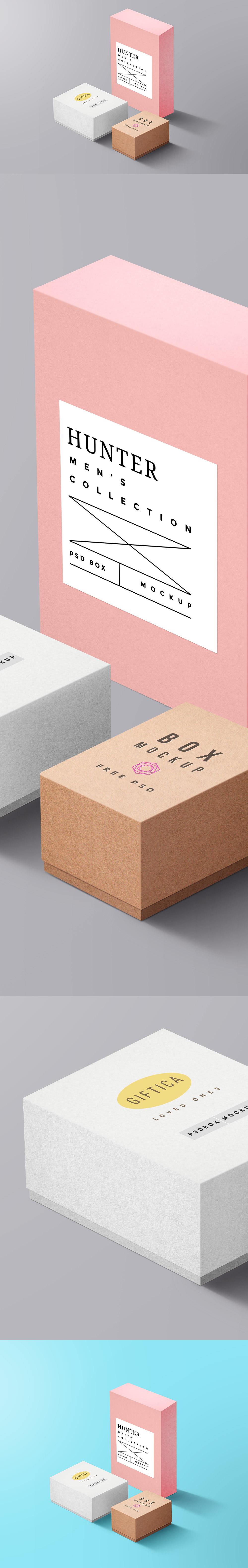 Gift Boxes Mockup PSD