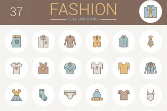 Free Flat Line Fashion Icons Pack