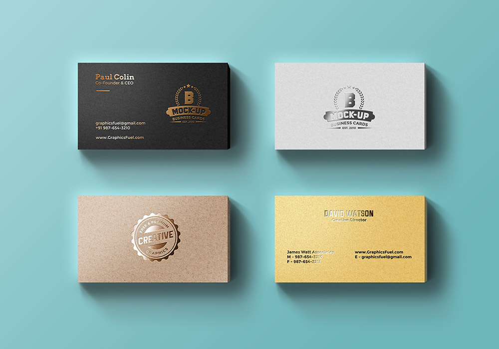 Foil Business Cards Mockup PSD - GraphicsFuel