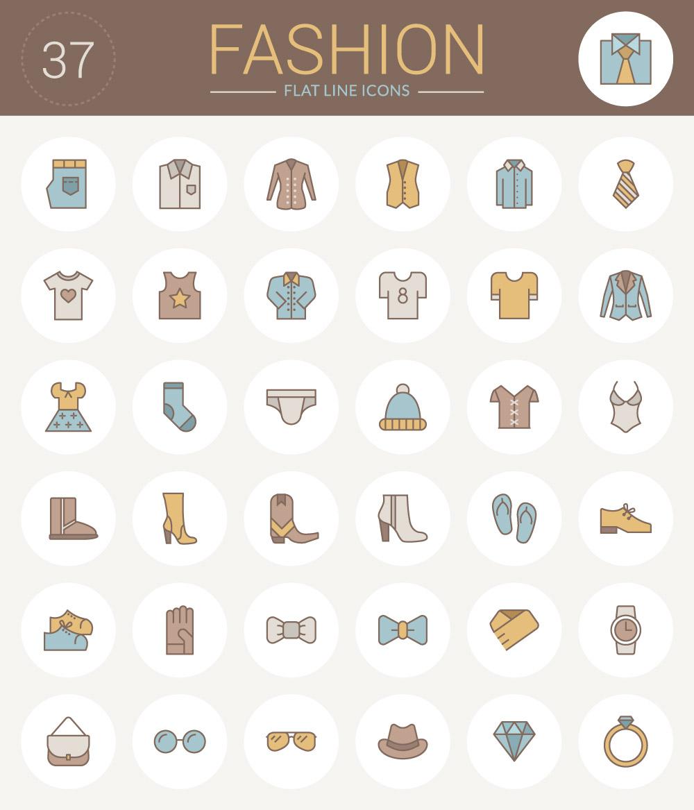 Free Flat Line Fashion Icons