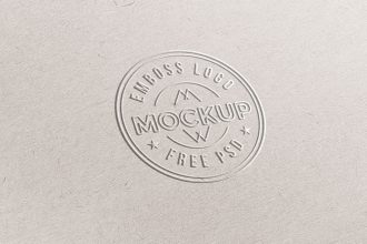 Emboss Paper Logo Mockup PSD