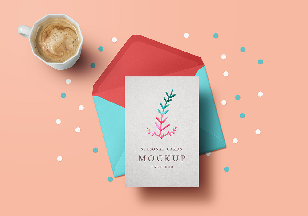 Holiday greeting card mockup psd graphicsfuel