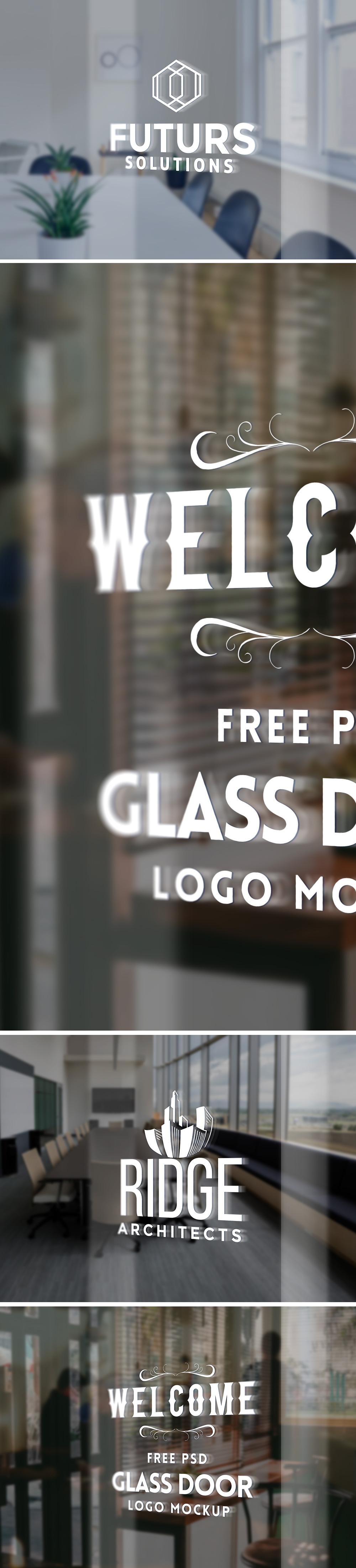 Glass Door Logo Mockup PSD