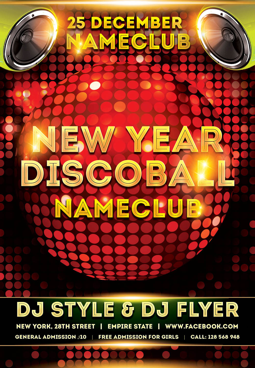 New Year Discoball FLyer