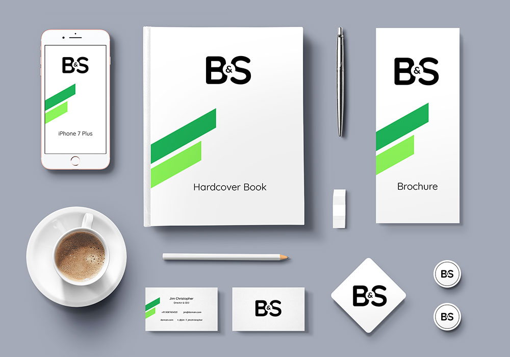 branding & stationery psd mockup - graphicsfuel, Powerpoint templates
