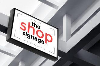 Outdoor Shop Signage Mockup PSD