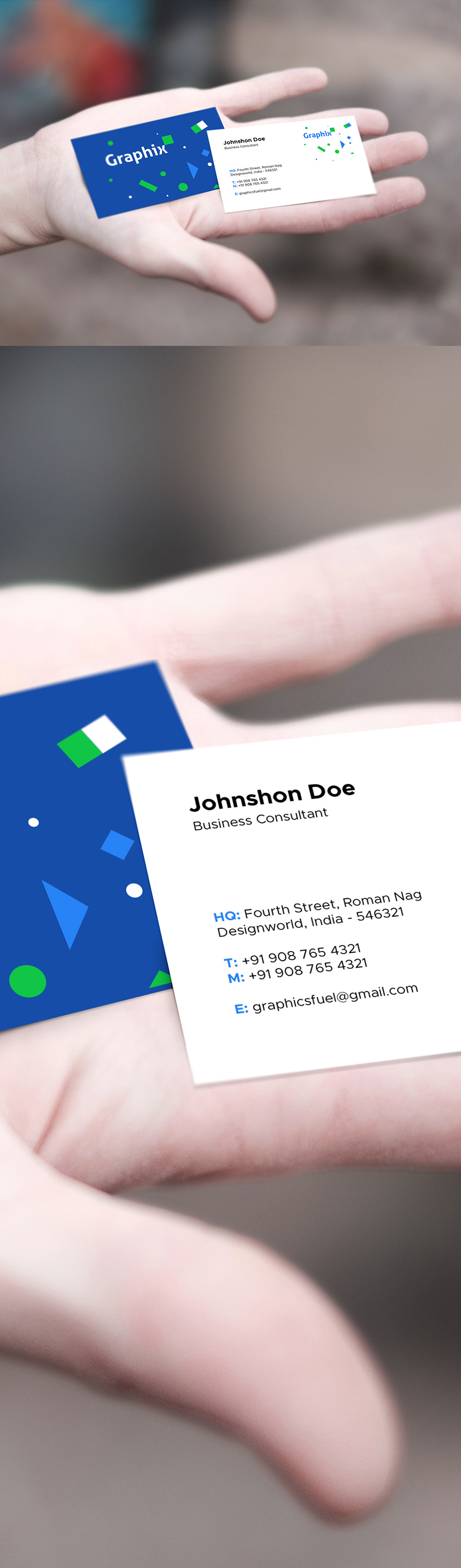 Business Card In Hand Mockup - GraphicsFuel