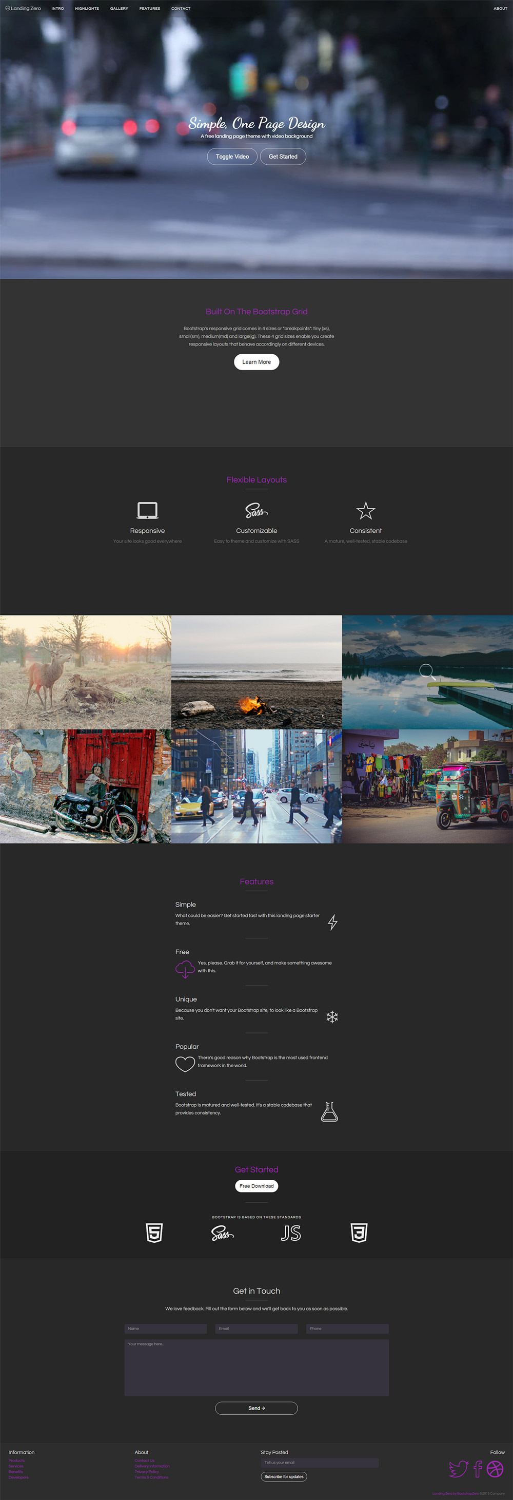 Landing Zero Free Bootstrap Landing Page Template GraphicsFuel - Video landing page templates