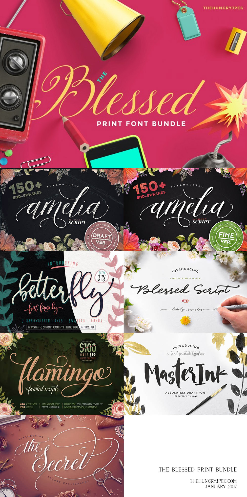 Blessed Print Font Bundle
