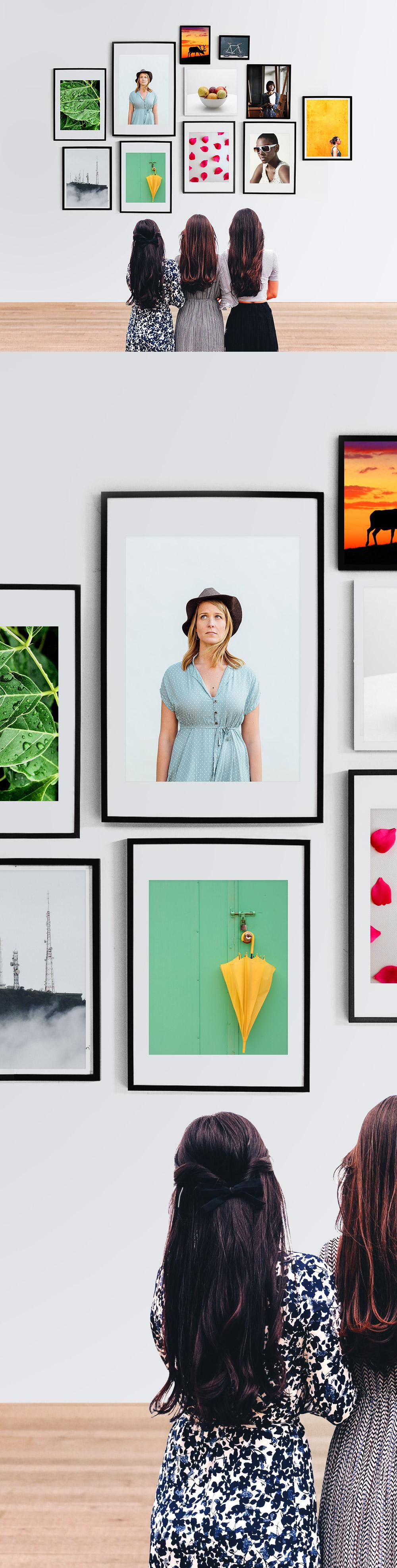 Wall Photo Frames Gallery Mockup