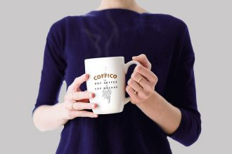 Woman With Coffee Cup Mockup