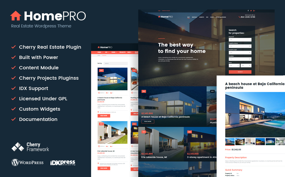 HomePro Real - Estate Portal WordPress Theme