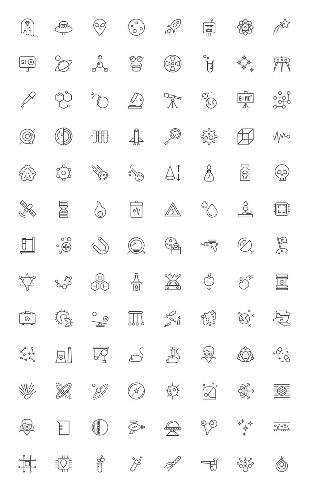 Science Icons - Outlined