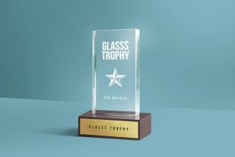 Glass Trophy PSD Mockup