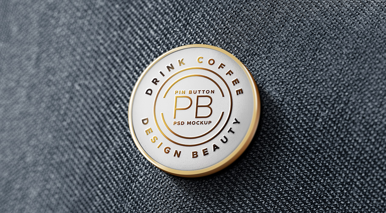 Metal Pin Badge PSD Mockup