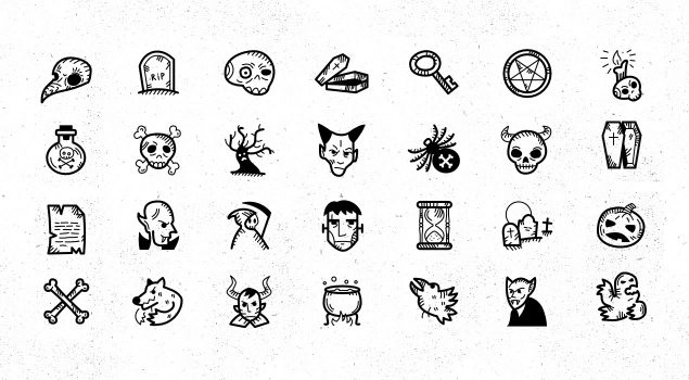 45 Spooky Halloween Handdrawn Icons