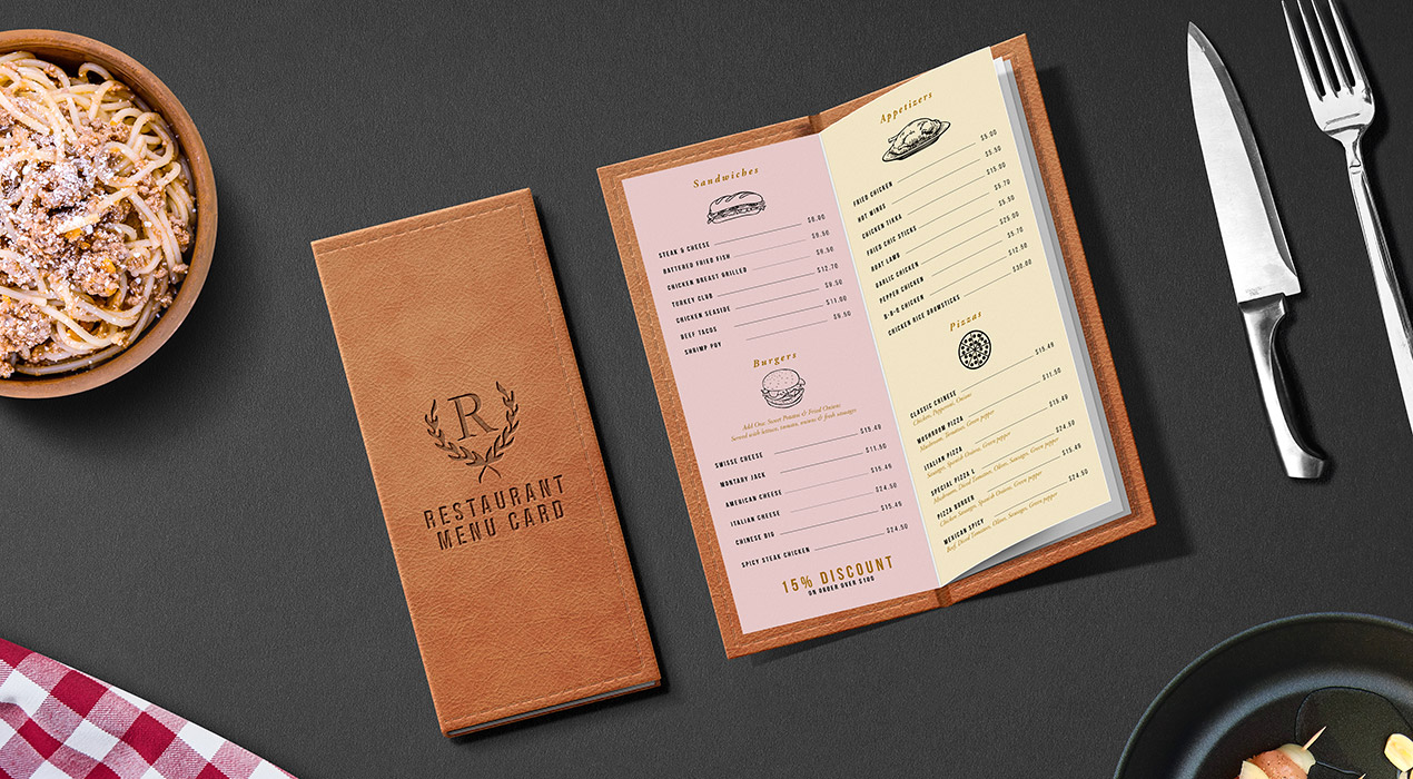Restaurant menu card mockup psd graphicsfuel for Restaurant menu psd