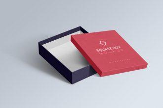 Square Box PSD Mockups