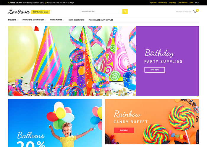 Party Supplies Magento Theme
