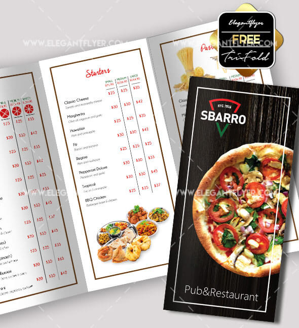 Free Professional Trifold Brochures For Business GraphicsFuel - Menu brochure template free
