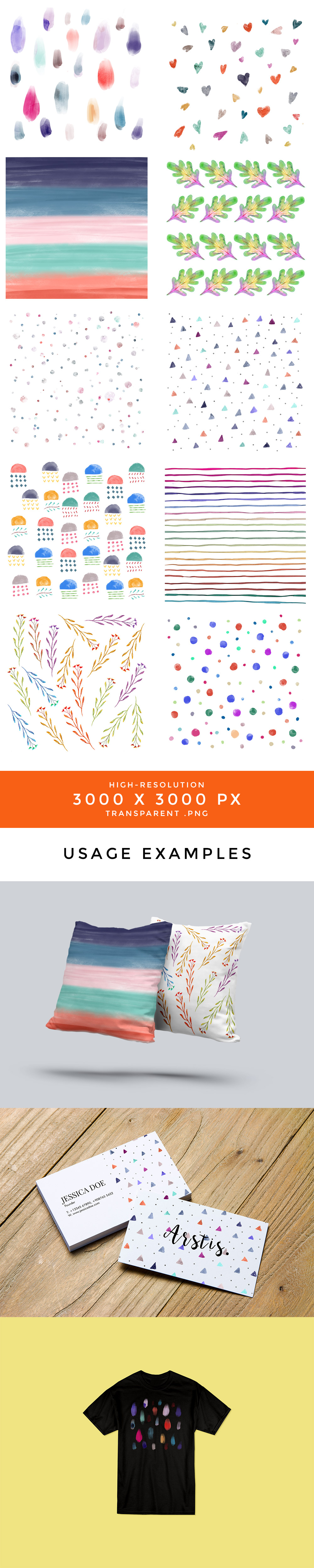Hand Drawn Watercolor Patterns