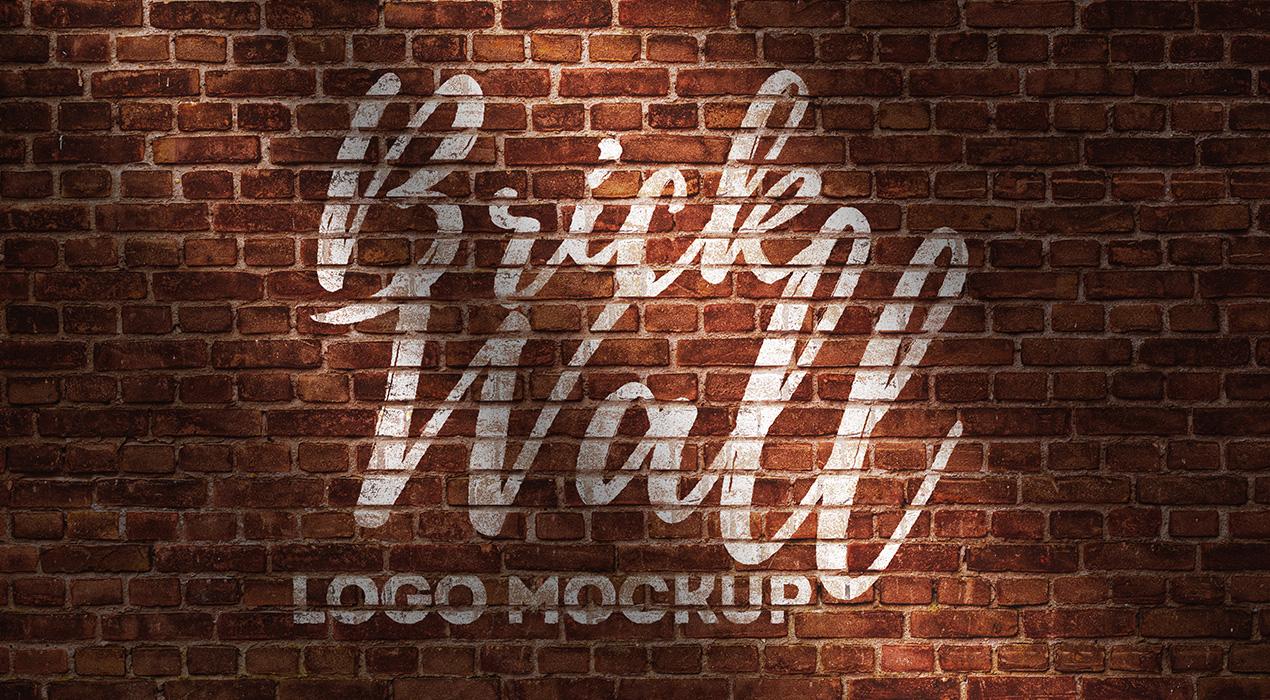 Brick Wall Logo Mockup