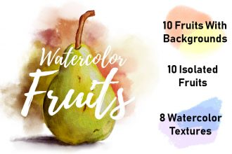 Watercolor Fruits And Watercolor Textures