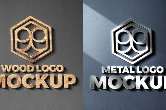 Wood And Metal Cut Logo Mockups