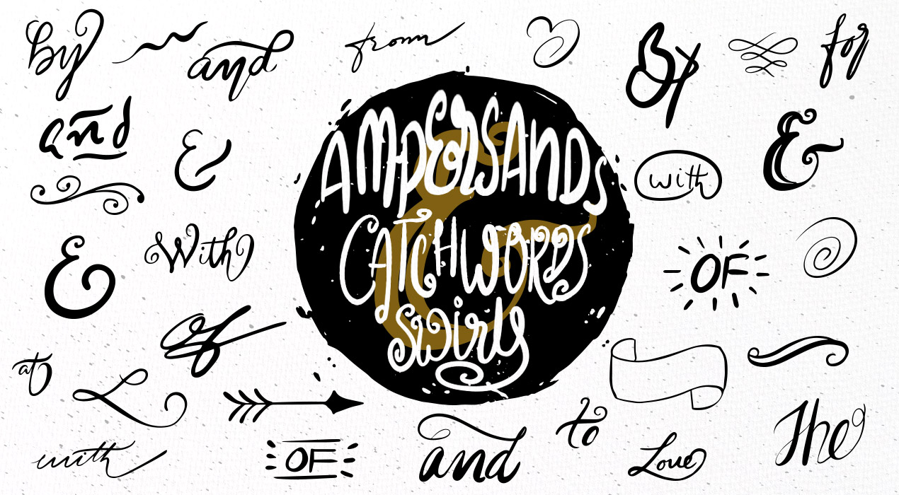 175 Hand-drawn Vector Catchwords, Ampersands And Swirls