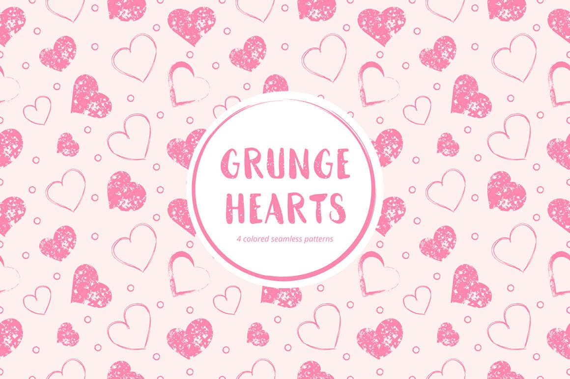 Grunge Hearts Pattern