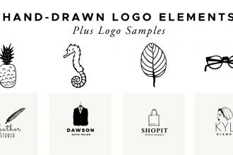 Hand-drawn Logo Elements And Logo Samples