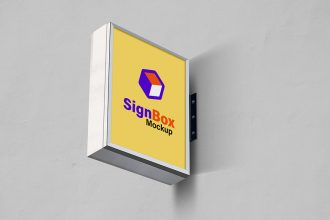 Wall Sign Board Mockup PSD