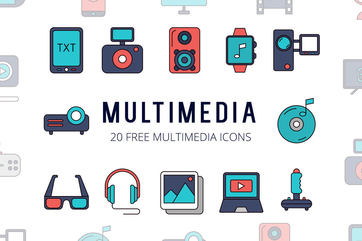 Multimedia Vector Free Icon Set