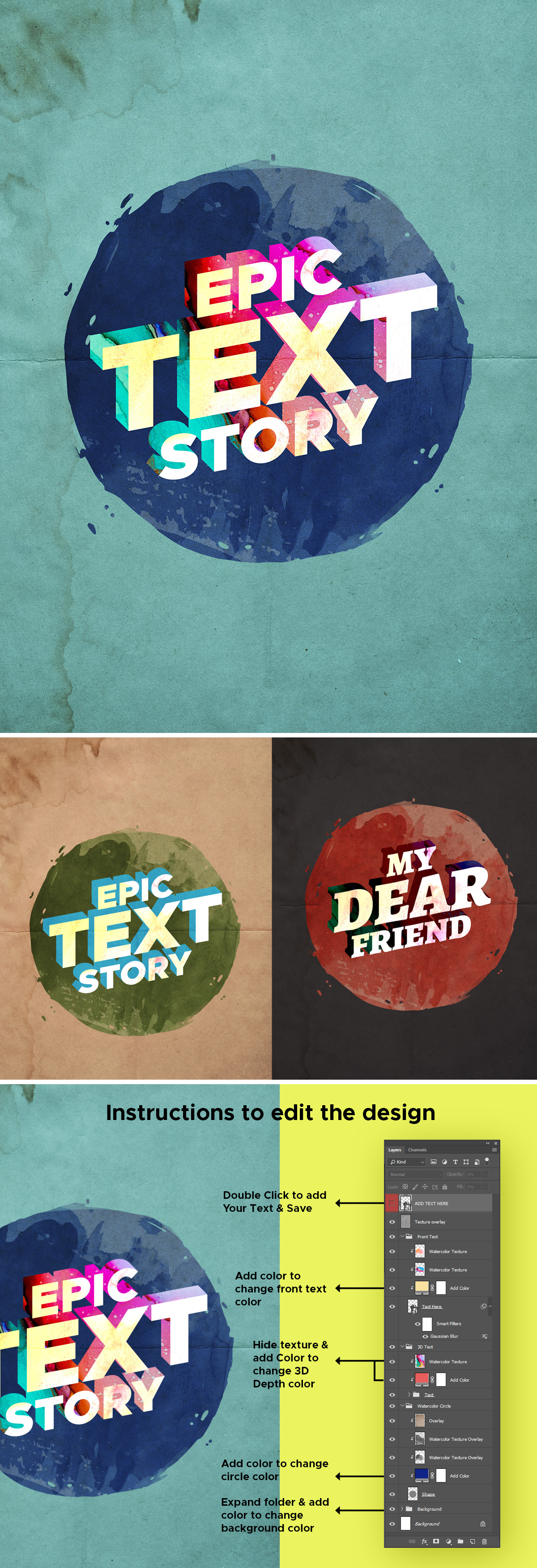 Vintage Watercolor 3D Text Effect