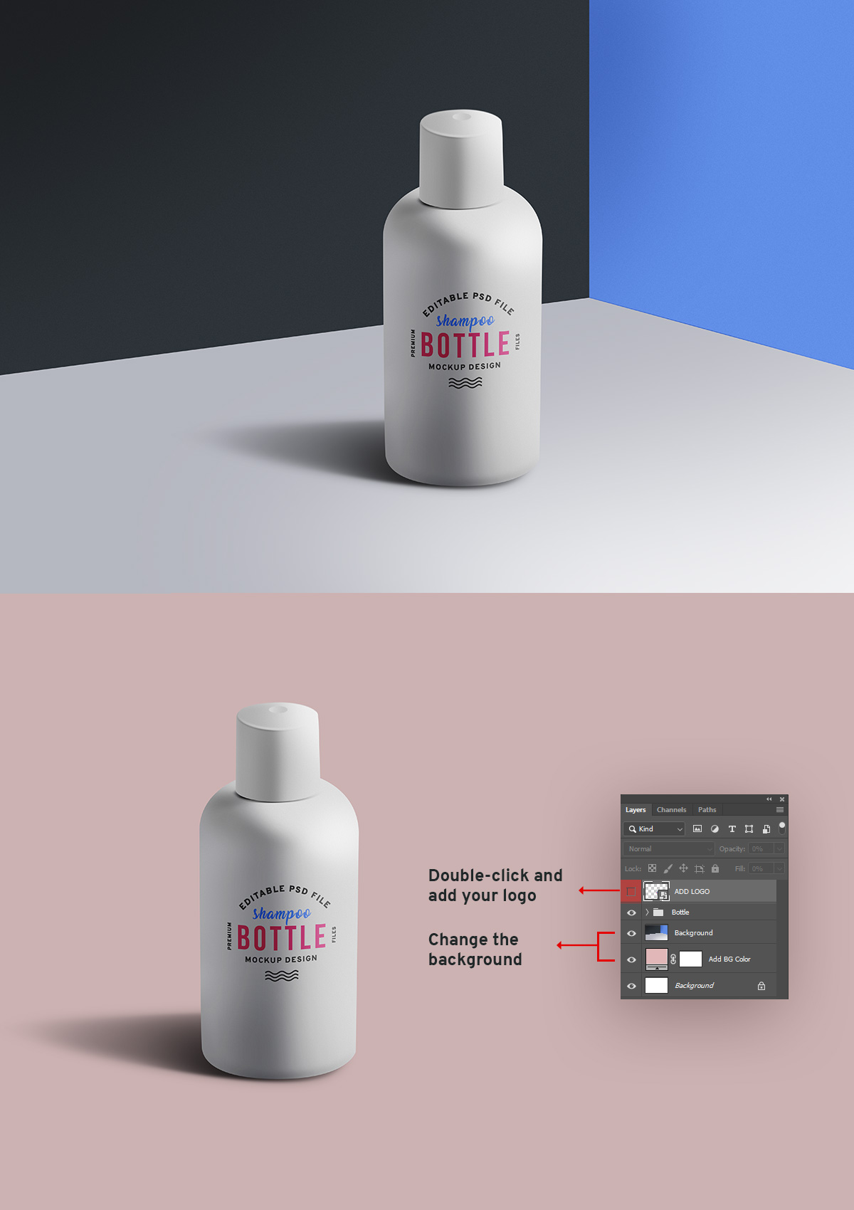 Cosmetic Bottle PSD Mockup