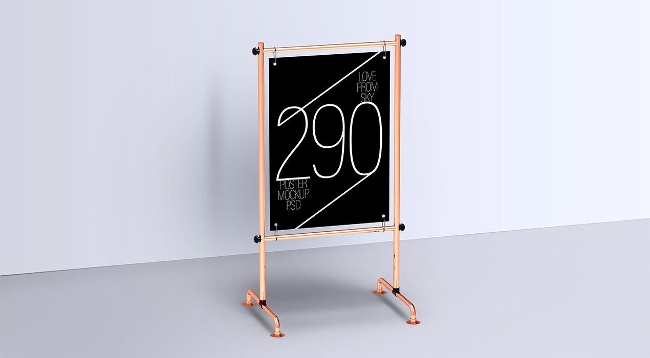 Display Metal Stand Poster Mockups