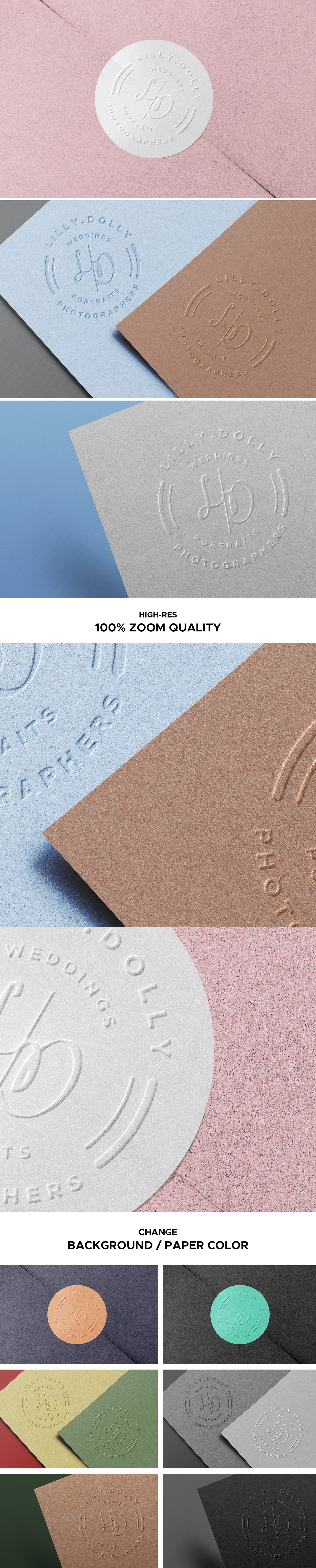 Embossed Paper Logo Mockups