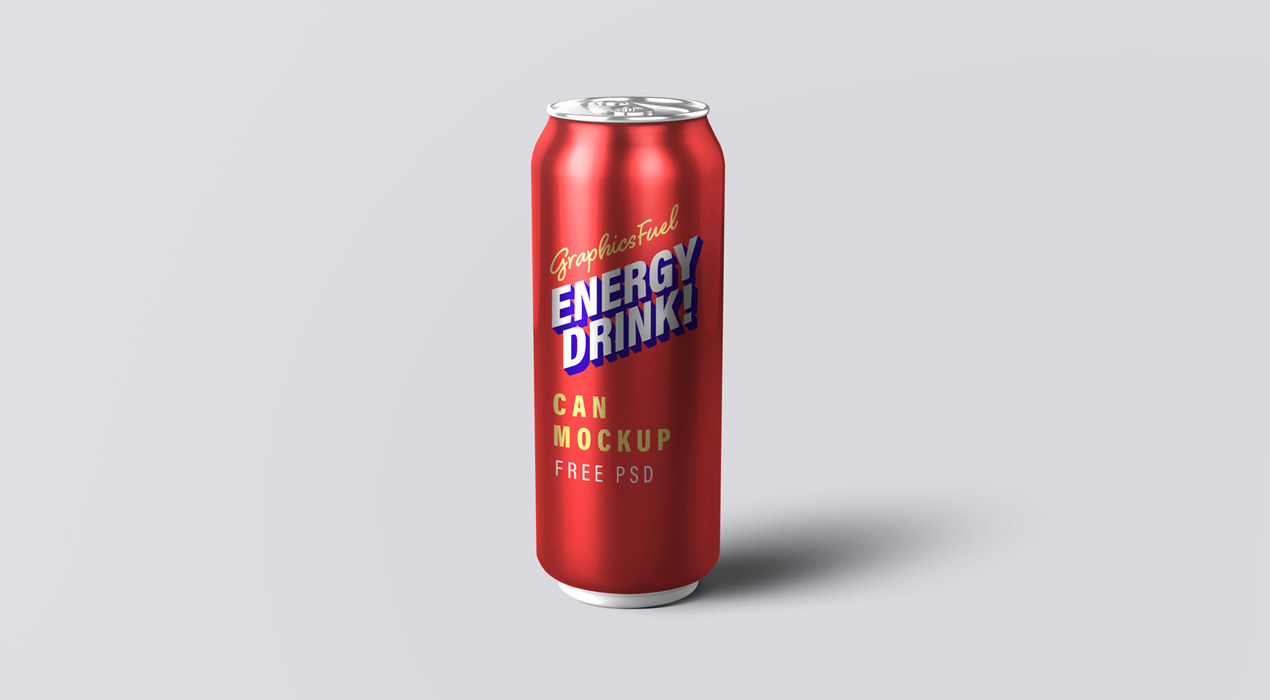 Freebie: Energy Drink Can PSD Mockup