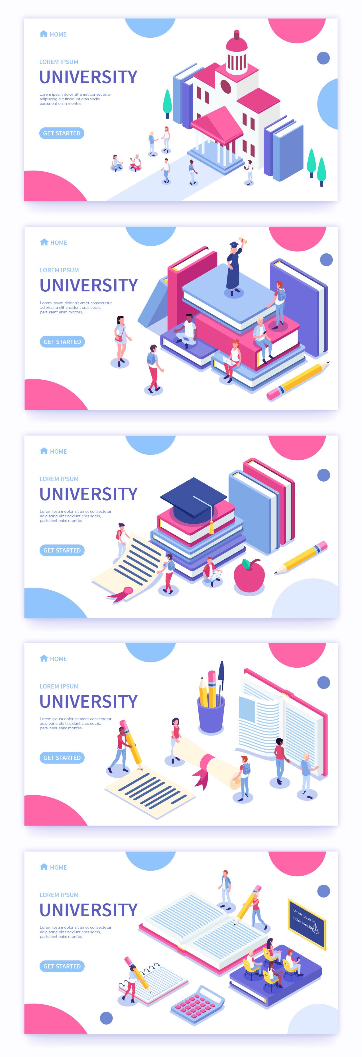 Free Vector Isometric University Icons