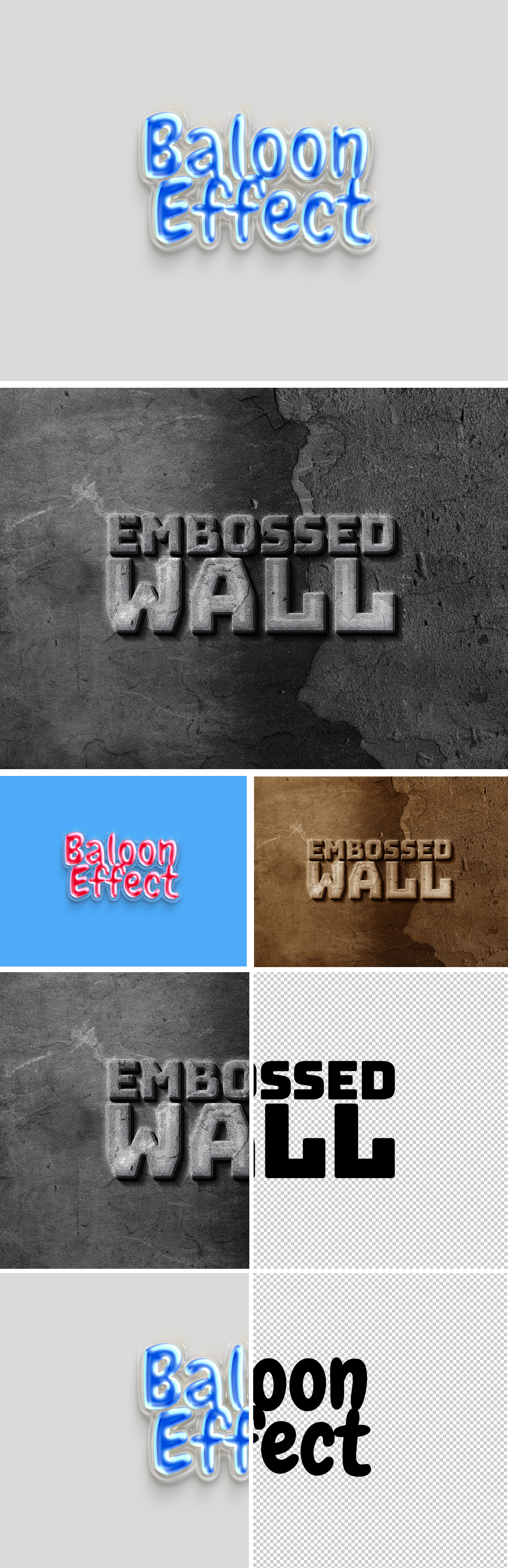 Balloon And  Embossed Wall Text Effects
