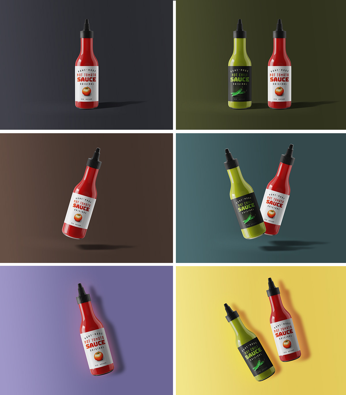 Sauce Bottle PSD Mockup
