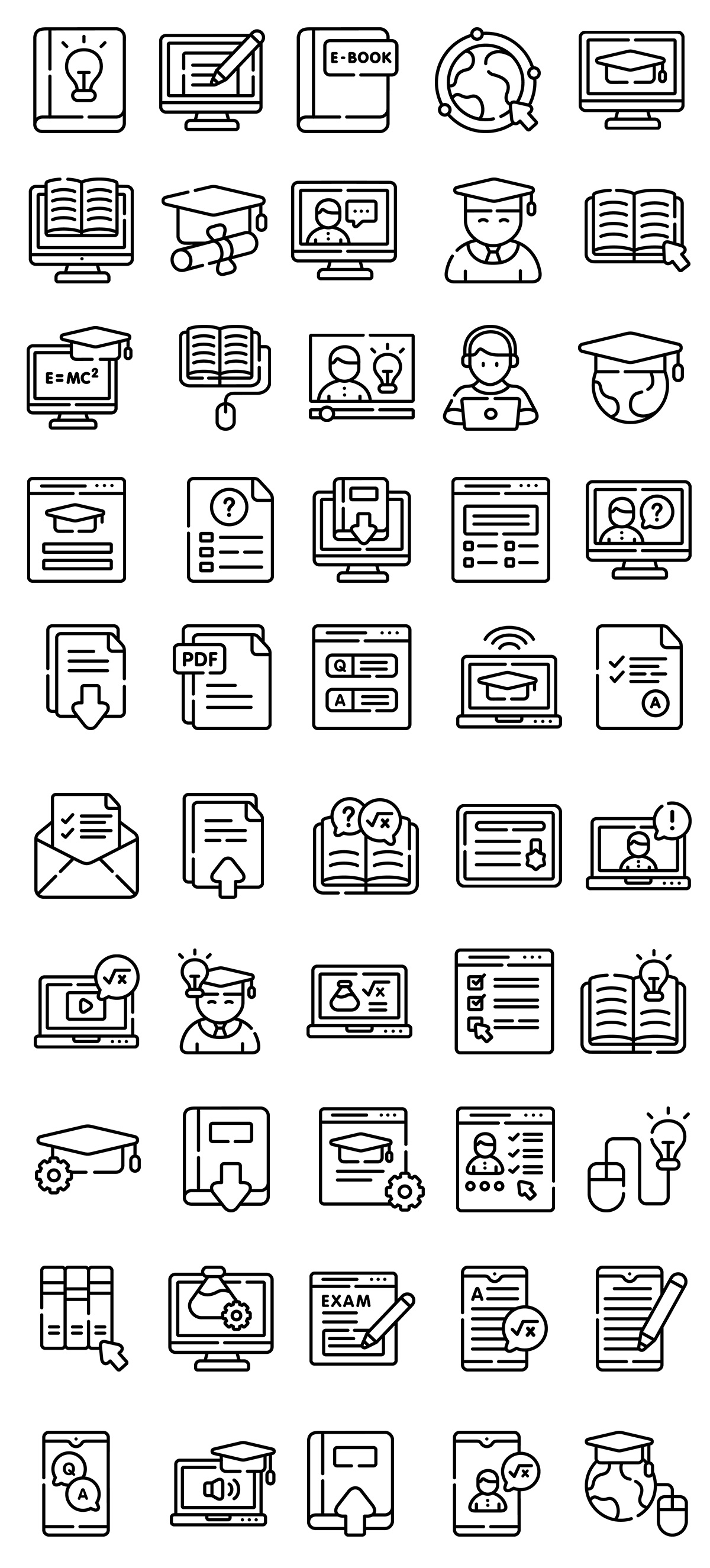 Online Learning Line Icons