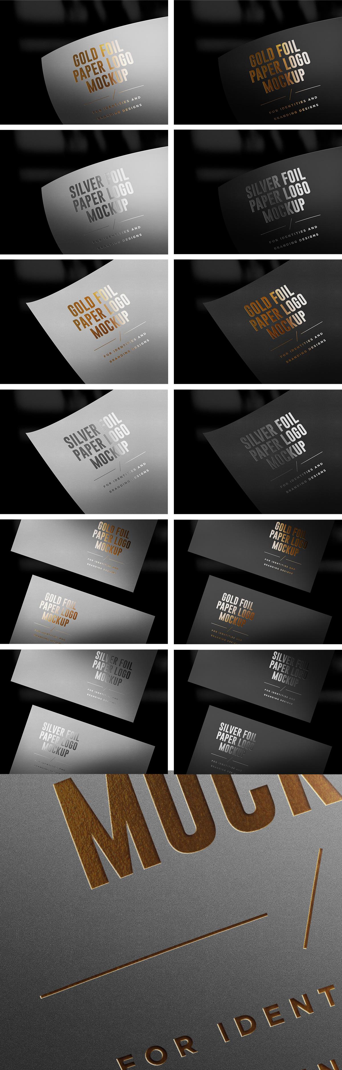 Gold & Silver Foil Paper Logo Mockups