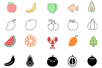 Natural Food Icons Vector Pack