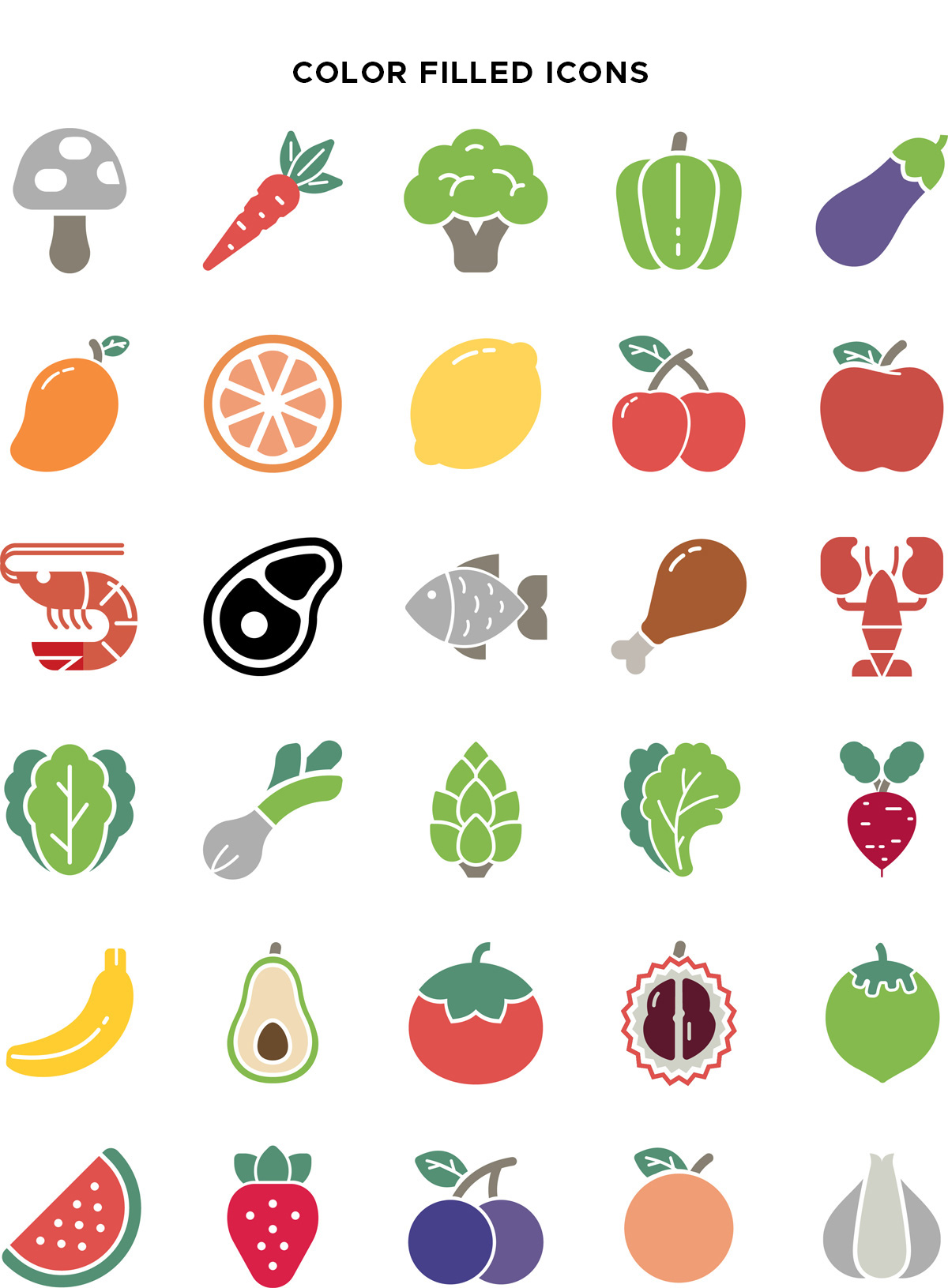 Natural Food Color Filled Icons Vector Pack