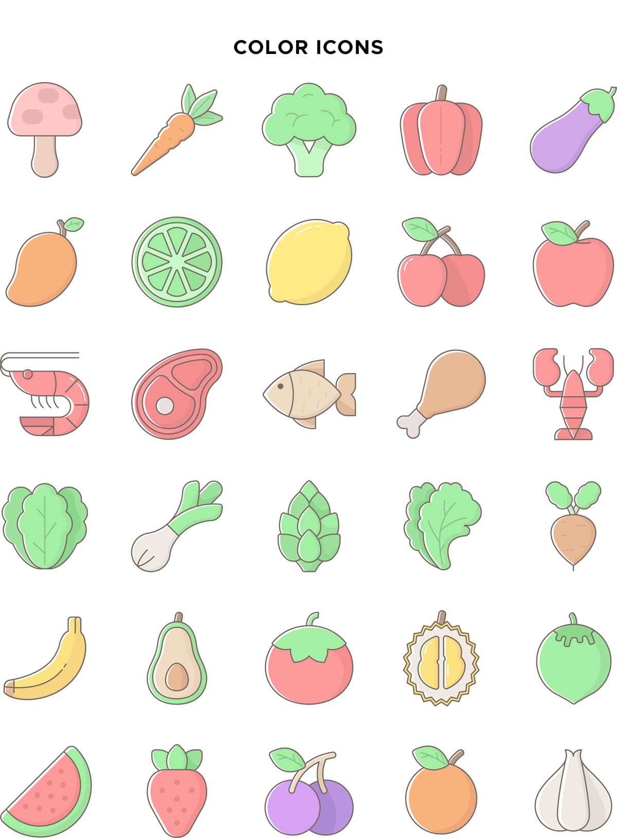 Natural Food Color Icons Vector Pack