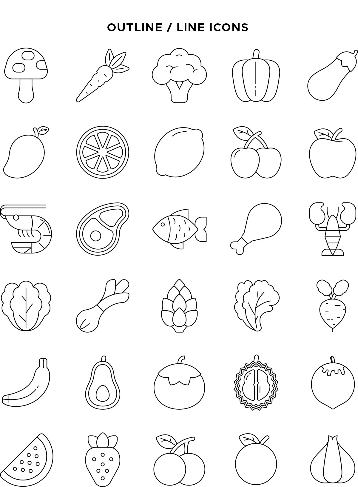 Natural Food Line Icons Vector Pack